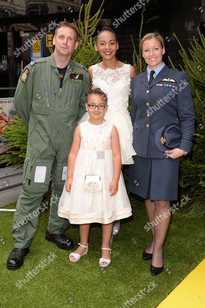 Gala Screening of 'Planes 2: Fire & Rescue' at the Odeon Leicester Square Raf Squadron Leader Nicole Lefthouse and Flight Sergeant Rob Chambers Pose with Jade Ellis and Her Daughter Caiden