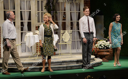 'Relatively Speaking' Press Night at Wyndham's Theatre Charing Cross Road Curtain Call - Jonathan Coy Felicity Kendal Max Bennett and Kara Tointon