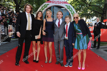 'Rush' World Premiere at the Odeon Leicester Square James Hunt's Widow Sarah with Her Sons Freddie and Tom Hunt