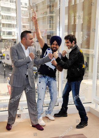 'Speedy Singhs' Photocall at the Jumeirah Carlton Hotel Knightsbridge Russell Peters Gurpreet 'Ghuggi' Singh and Vinay Virmani