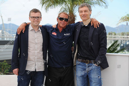 'Steve Mcqueen the Man and Le Man' Photocall at the Palais Des Festivals During the 68th Cannes Film Festival Us Director John Mckenna Chad Mcqueen and Uk Director Gabriel Clarke
