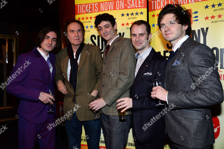 'Sunny Afternoon' Press Night at the Harold Pinter Theatre and Afterparty at the Cafe De Paris George Maguire Ray Davies John Dagleish Adam Sopp and Ned Derrington