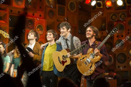 'Sunny Afternoon' Press Night at the Harold Pinter Theatre and Afterparty at the Cafe De Paris Curtain Call - John Dagleish George Maguire Adam Sopp and Ned Derrington
