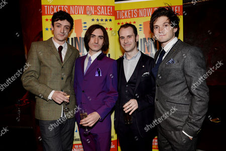 'Sunny Afternoon' Press Night at the Harold Pinter Theatre and Afterparty at the Cafe De Paris John Dagleish George Maguire Adam Sopp and Ned Derrington