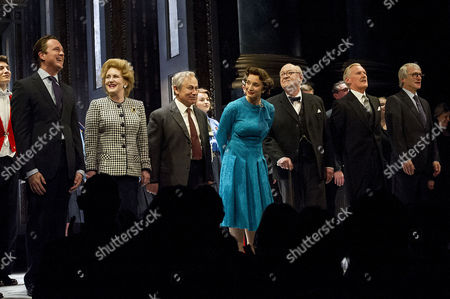 'The Audience' Press Night at the Apollo Theatre and Afterparty at Horseguards Hotel Curtain Call - Sylvestra Le Touzel Mark Dexter Kristin Scott Thomas David Calder David Robb and Michael Gould