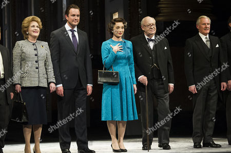 'The Audience' Press Night at the Apollo Theatre and Afterparty at Horseguards Hotel Curtain Call - Sylvestra Le Touzel Mark Dexter Kristin Scott Thomas David Calder and David Robb