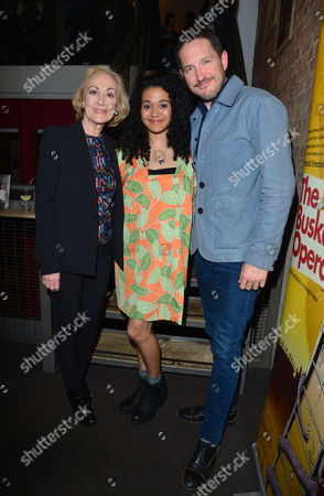 'The Buskers Opera' Press Night at the Finsbury Park Theatre Paula Wilcox Natasha Cottriall and Bertie Carvel