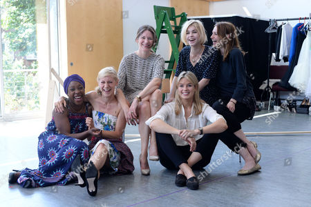 'The Colby Sisters of Pittsburgh Pennsylvania' Rehearsals at the Tricycle Theatre Ronke Adekoluejo Charlotte Parry Patricia Potter and Alice Saunders Claire Forlani and Isabella Calthorpe