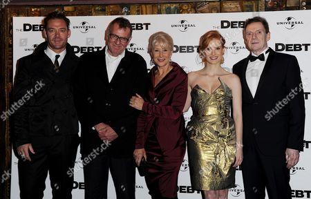 'The Debt' Uk Premiere at the Curzon Mayfair Marton Csokas Tom Wilkinson Helen Mirren Jessica Chastain and Jesper Christensen