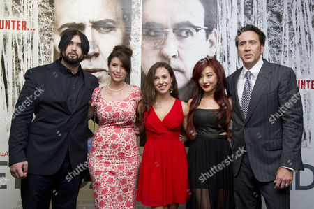 'The Frozen Ground' Premiere at the Vue Westend Nicolas Cage with His Wife Alice Kim with His Son Weston Coppola Cage and His Girlfriend Danielle Friedman and Niece Natasha