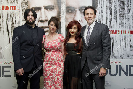 'The Frozen Ground' Premiere at the Vue Westend Nicolas Cage with His Wife Alice Kim with His Son Weston Coppola Cage and His Girlfriend Danielle Friedman