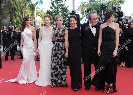 'The Homesman' Red Carpet at the Palais Des Festivals During the 67th Cannes Film Festival Hilary Swank Miranda Otto Sonja Richter Dawn Laurel Jones Tommy Lee Jones and Victoria Jones