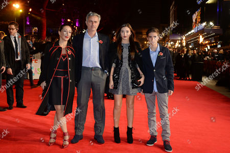 Stock Picture of 'The Hunger Games: Mockingjay Part 1' Premiere at Odeon Leicester Square Jose Mourinho with His Wife Matilde Faria and Children Matilde and Jose Mario