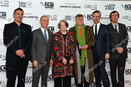 'The Lady in the Van' Mayor's Centrepiece Gala During the Bfi London Film Festival at the Odeon Leicester Square Damian Jones Nicholas Hytner Dame Maggie Smith Alan Bennett Alex Jennings and Kevin Loader