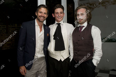 the Alchemic Order Present 'The Picture of Dorian Gray' Staged in A House in Greenwich River Hawkins (dorian Gray) and Samuel Orange (director and Lord Henry Wotton) Are Congratulated by Jason Orange After the Play