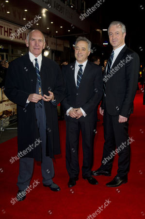 'The Railway Man' Uk Premiere at the Odeon Westend Bill Curbishley (producer) Frank Cottrell Boyce (writer) and Andy Paterson (producer)