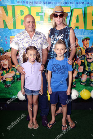 'The Unbeatables' Screening at the Vue Leicester Square Aldo Zilli with His Wife Nikki and Their Children Rocco and Twiggy