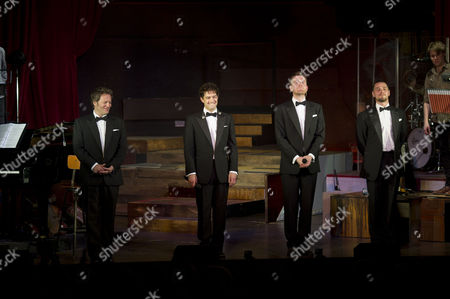 Stock Photo of 'The West End Men in Concert' Curtain Call at the Vaudeville Theatre Glenn Carter David Thaxton Matt Willis and Lee Mead