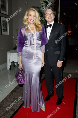 'Top Hat' First Night at the Aldwych Theatre and Afterparty at the Waldorf Hotel Jerry Hall with Her Boyfriend Warwick Hemsley