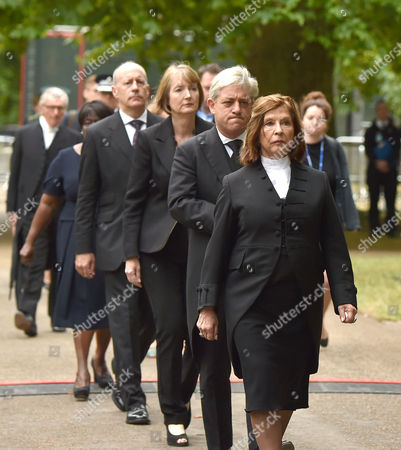 Stock Image of Tenth Anniversary of the 7/7 Terrorist Attacks at the 7 July Memorial Hyde Park Baroness D'souza (speaker of the House of Lords) John Bercow (speaker of the House of Commons) Harriet Harman (leader of the Labour Party) and Hackney Mayor Jules Pipe