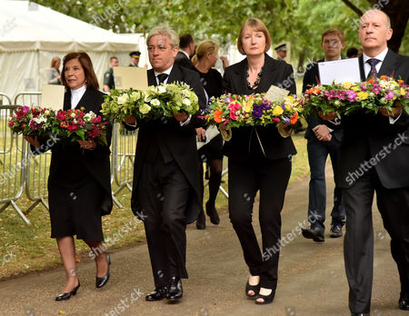 Stock Photo of Tenth Anniversary of the 7/7 Terrorist Attacks at the 7 July Memorial Hyde Park Baroness D'souza (speaker of the House of Lords) John Bercow (speaker of the House of Commons) and Harriet Harman (leader of the Labour Party) and Hackney Mayor Jules Pipe