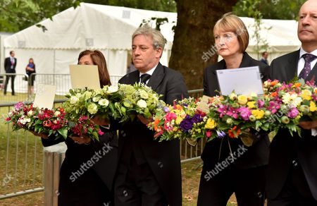 Tenth Anniversary of the 7/7 Terrorist Attacks at the 7 July Memorial Hyde Park Baroness D'souza (speaker of the House of Lords) John Bercow (speaker of the House of Commons) and Harriet Harman (leader of the Labour Party) and Hackney Mayor Jules Pipe