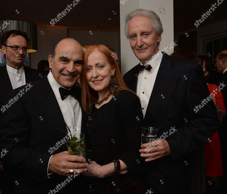 Stock Photo of 25 Years of Poirot - at Bafta 195 Piccadilly David Suchet with His Wife Shelia and Children Katherine and Robert Also with Fellow Actors Hugh Fraser and Pauline Moran
