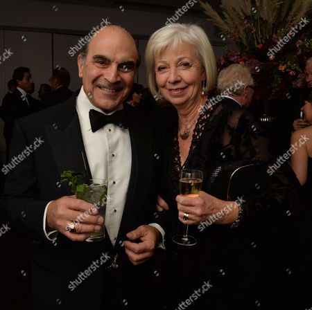 25 Years of Poirot - at Bafta 195 Piccadilly David Suchet with His Wife Shelia and Children Katherine and Robert Also with Fellow Actors Hugh Fraser and Pauline Moran