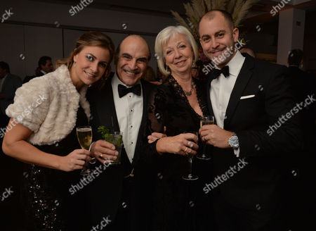 Stock Image of 25 Years of Poirot - at Bafta 195 Piccadilly David Suchet with His Wife Shelia and Children Katherine and Robert Also with Fellow Actors Hugh Fraser and Pauline Moran