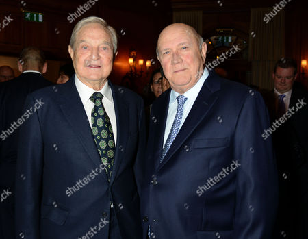 4th Fortune Forum Summit Dinner at the Dorchester Hotel Mayfair George Soros and F W De Klerk