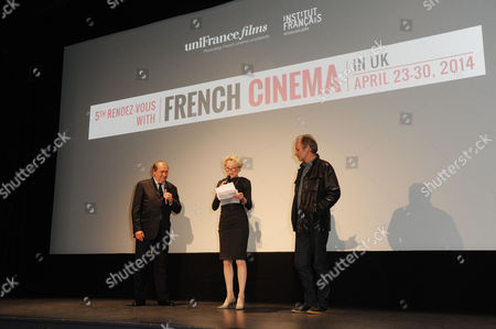 'Life of Riley' Premiere During the 5th Rendez-vous with French Cinema at Cine Lumiere Caroline Silhol and Hippolyte Girardot Introduce the Film