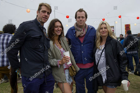 Stock Photo of Glastonbury Festival of Contemporary Performing Arts Somerset Backstage Friday Ben Elliot His Wife Mary-clare Elliott and Tom and Sara Parker Bowles