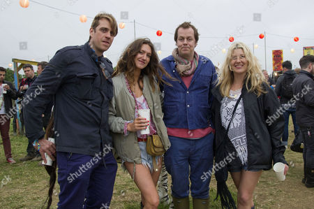 Glastonbury Festival of Contemporary Performing Arts Somerset Backstage Friday Ben Elliot His Wife Mary-clare Elliott and Tom and Sara Parker Bowles