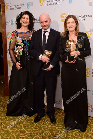 British Academy Film Awards Afterparty at the Grosvenor House Hotel Finola Dwyer Amanda Posey and Nick Hornby (outstanding British Film 'Brooklyn')