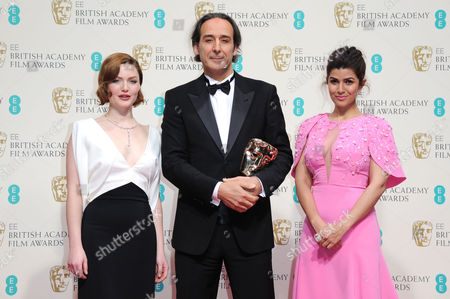 Ee 2015 British Academy Film Awards Press Room at the Royal Opera House Alexandre Desalt - Winner of Best Original Music Ôthe Grand Budapest Hotel' Presented by Holliday Grainger and Nimrat Kaur