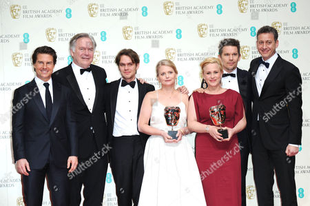 Ee 2015 British Academy Film Awards Press Room at the Royal Opera House Ellar Coltrane Ethan Hawke Patricia Arquette John Sloss Jonathan Sehring and Cathleen Sutherland Collect the Award For Best Film 'Boyhood' Presented by Tom Cruise