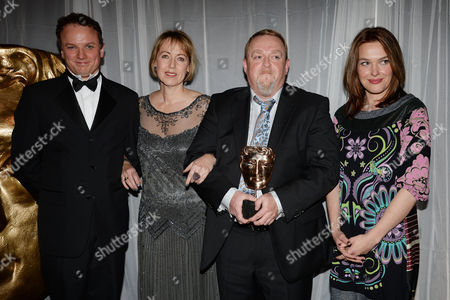 Stock Photo of Bafta Children's Awards Press Room at the Roundhouse Camden Sally Bretton with the Winners of Diddy Movies 2 - Dez Mccarthy Annette Williams and Steve Ryde