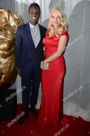 Stock Image of Bafta Children's Awards Press Room at the Roundhouse Camden Andy Akinwolere and Laura Hamilton