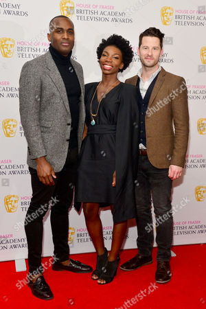 House of Fraser British Academy Television and Craft Nominees Party at the Mondrian Hotel Southbank Kadiff Kirwan Michaela Coel and Robert Lonsdale (chewing Gum)