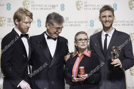 British Academy Film Awards at the Royal Opera House- Press Room Hugo Sigman and Damian Szifron (film not in the English Language 'Wild Tales' ) Presented by Domhnall Gleeson and Carrie Fisher