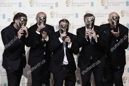 British Academy Film Awards at the Royal Opera House- Press Room Chris Duesterdiek Martin Hernandez Frank A Montano Jon Taylor and Randy Thom (best Sound 'The Revenant')