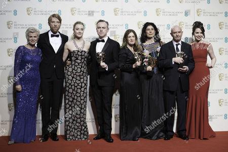 British Academy Film Awards at the Royal Opera House- Press Room Julie Walters Domhnall Gleeson Saoirse Ronan John Crowley Finola Dwyer Amanda Posey and Nick Hornby (outstanding British Film 'Brooklyn')