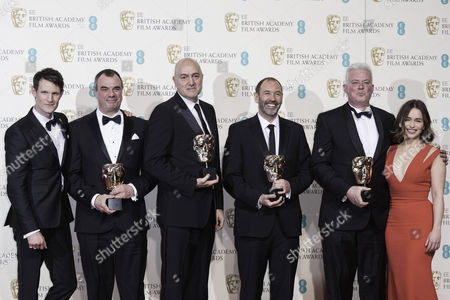 British Academy Film Awards at the Royal Opera House- Press Room Chris Corbould Roger Guyett Paul Kavanagh and Neal Scanlan (best Visual Effects 'Star Wars: the Force Awakens') Presented by Emilia Clarke and Matt Smith