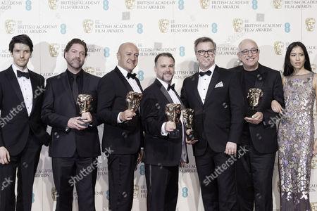 British Academy Film Awards at the Royal Opera House- Press Room Chris Duesterdiek Martin Hernandez Frank A Montano Jon Taylor and Randy Thom (best Sound 'The Revenant') Presented by Colin Morgan and Sonoya Mizuno