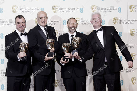 British Academy Film Awards at the Royal Opera House- Press Room Chris Corbould Roger Guyett Paul Kavanagh and Neal Scanlan (best Visual Effects 'Star Wars: the Force Awakens')