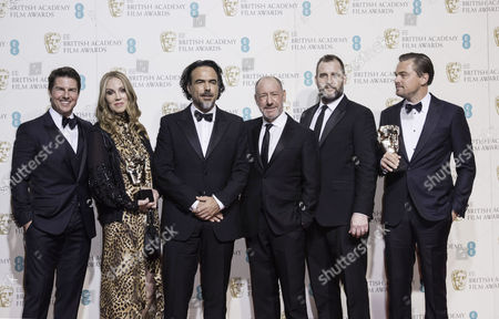 British Academy Film Awards at the Royal Opera House- Press Room Mary Parent Alejandro Gonzalez Inarritu Steve Golin Keith Redmon and Leonardo Dicaprio (best Film 'The Revenant) Presented by Tom Cruise