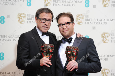 Ee British Academy Film Awards Press Room at the Royal Opera House Eric Warren Singer and David O Russell Collect the Award For Best Original Screenplay For 'American Hustle'