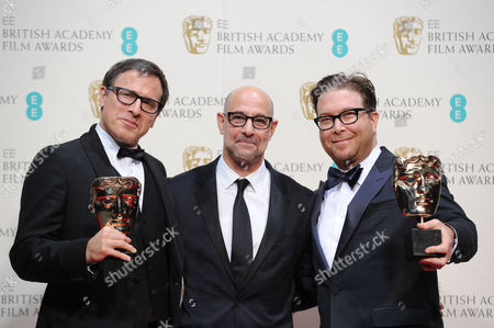 Ee British Academy Film Awards Press Room at the Royal Opera House Eric Warren Singer and David O Russell Collect the Award For Best Original Screenplay For 'American Hustle' Presented by Stanley Tucci