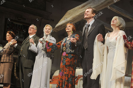 Blithe Spirit Press Night at the Gielgud Theatre and Afterparty at the Rosewood Hotel Holborn Curtain Call - Serena Evans Simon Jones Janie Dee Angela Lansbury Charles Edwards and Jemima Rooper