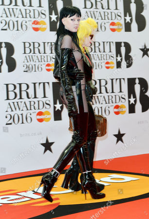 Brit Awards 2016 at the O2 - Arrivals Sadie Pinn and Pam Hogg